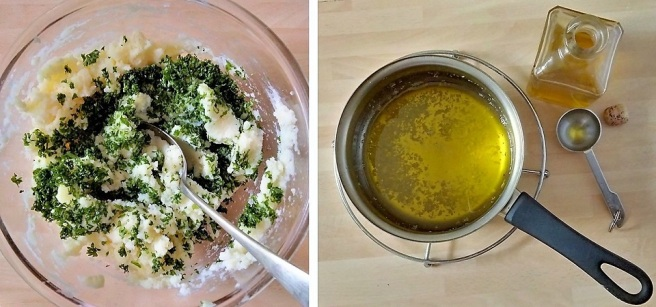 Chopped_parsley_garlic_and_olive_oil_being_added_to_mashed_potato