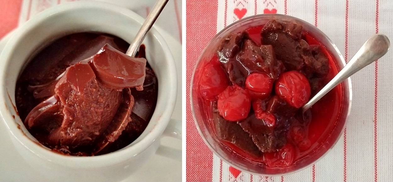Pot_of_chocolate_blancmage_and_ as_a serving_with_Morello_cherry_compote