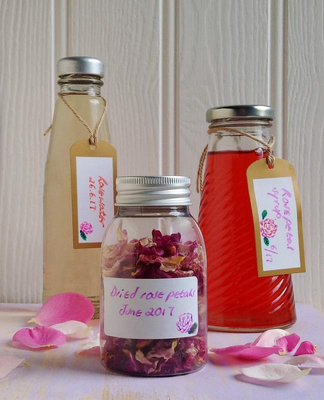 Homemade_rosewater_dried_rose_petals_and_rose_petal_syup