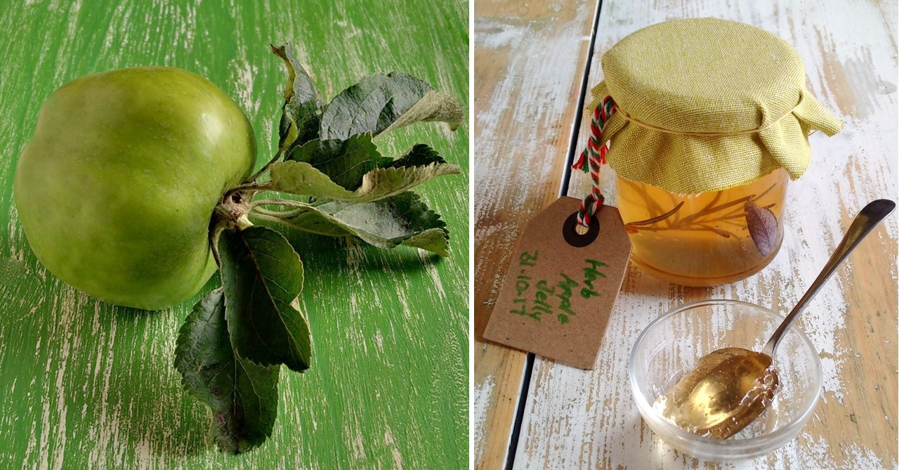 Lord_Derby_cooking_apple_with_jar_of_herb_apple_jelly