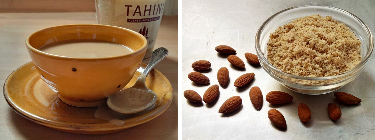 Dish_of_tahini_and_bowl_of_ground_almonds