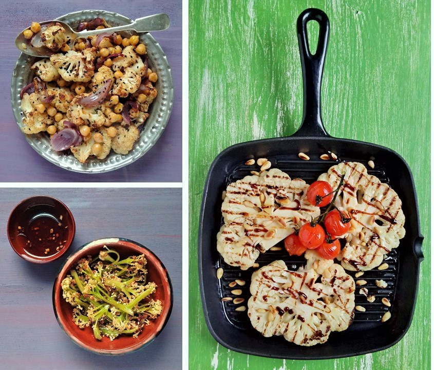 Indian-spiced_roast_cauliflower_teriyaki_stir_fried_cauliflower_and_Italian-style_cauliflower_steak