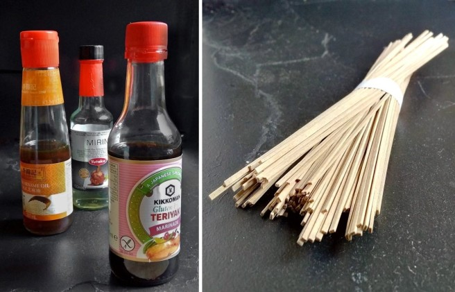 Bottles_pf_sesame_oil_mirin_andTeriyaki marinade_with_a_bunch_of_soba_noodles