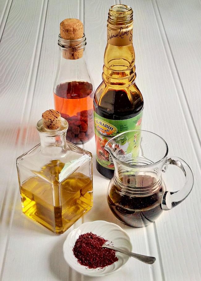 Strawberry_vinegar_olive_oil_pomegranate_molasses_and sumac_powder