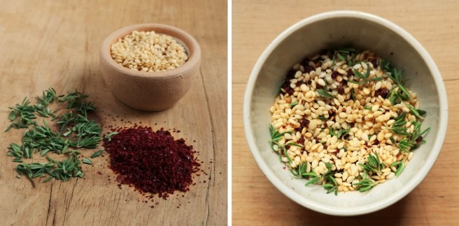 Fresh_thyme_sumac_powder_and_lightly_toasted_sesame_seeds