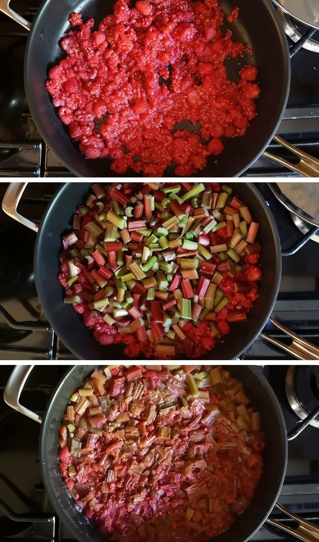 3_stages_to_cooking_rhubarb_and_raspberries_for_jelly_preserve