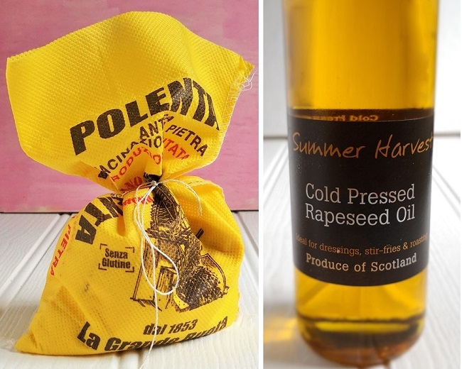 Yellow_sack_of_polenta_grain_and_bottle_of_cold_presse_rapeseed_oil
