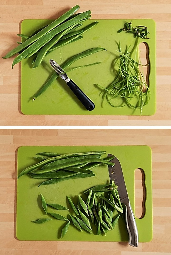 TRimming_and_chopping_home-grown_runner_beans