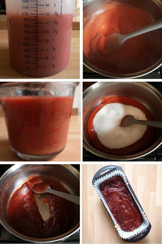 Measuring_plum_pulp_and_cooking_with_sugar_to_make_membrillo