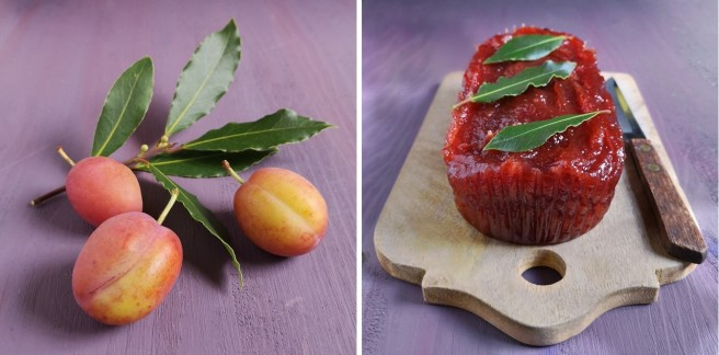 Victoria_plums_and_bay_leaves_with_plum_membrillo