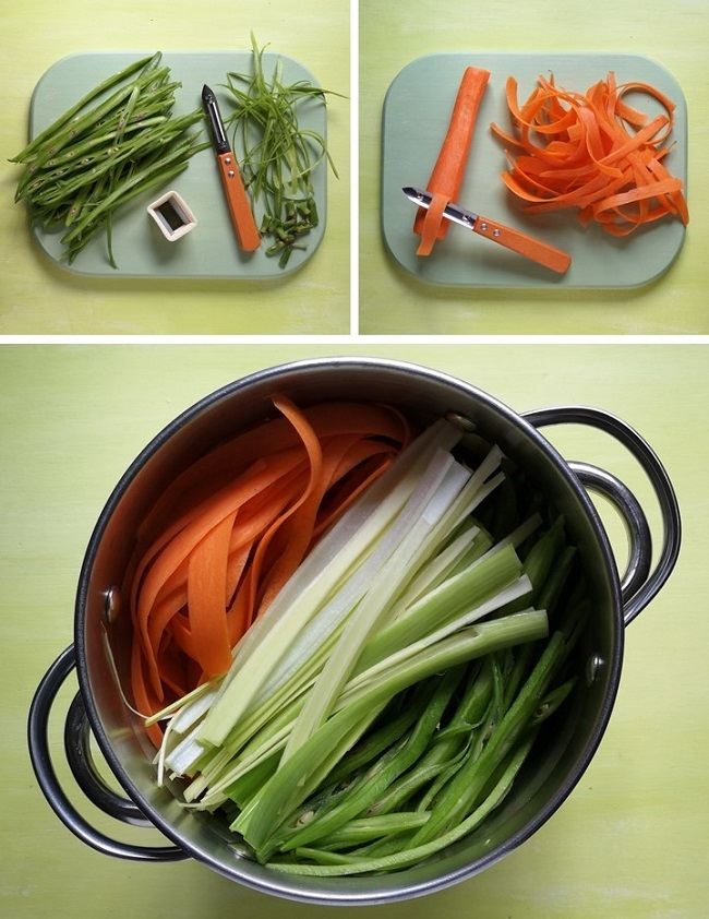 Preparing_runner_beans_and_carrots_into_ribbons_for_steaming
