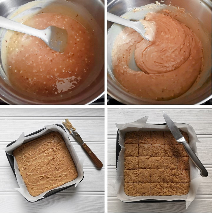 Steps_showing_fudge_texture_and_setting_in_tin
