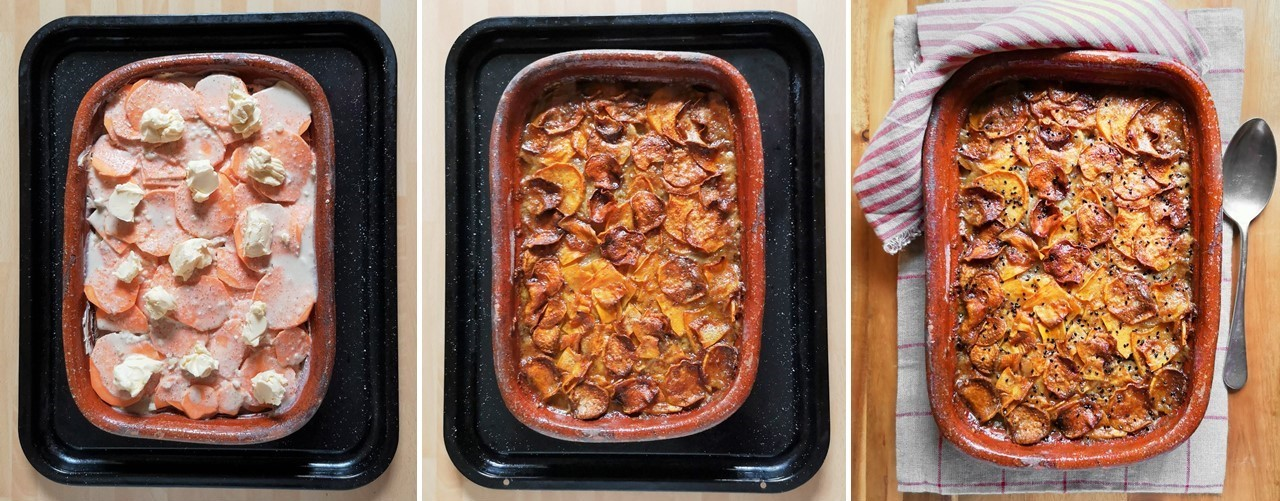 Pre-baking_and_after_baking_root_vegetable_dauphinoise