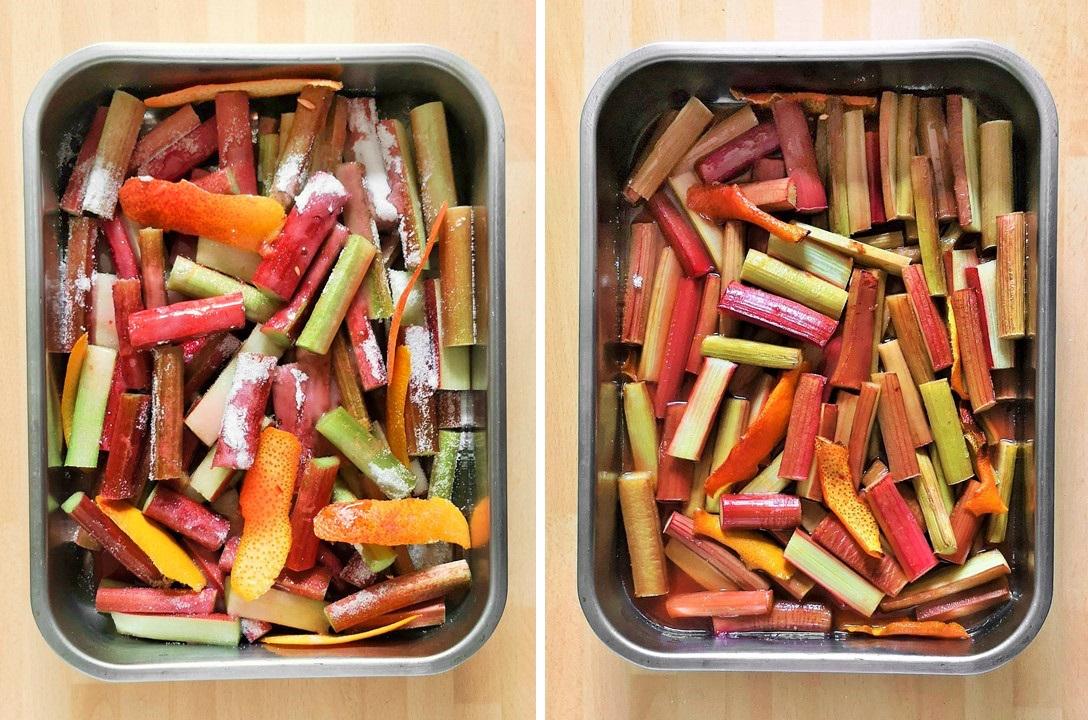 Prepared_rhubarb_with_orange_rind_and_juice_sprinkled_with_sugar