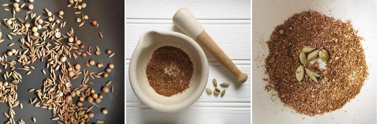 Toasting_cumin_and_coriander_seeds_and_grinding_in_a_pestle_and_mortar