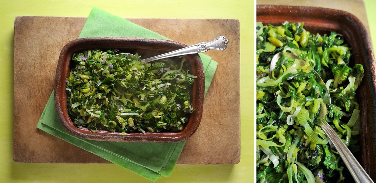 Stir-fried_wild_garlic_mini_kale_leaves_and_leeks