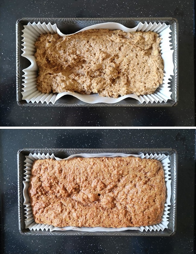 Banana_and_coconut_bread_mix_before_and_after_baking