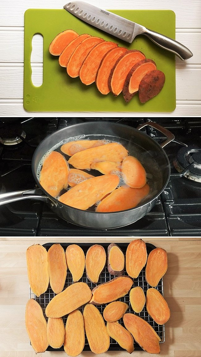 Sliced_sweet_potato_softening_in_simmering_water_and_drying_on_a_wire_rack
