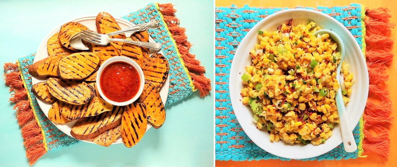 Griddled_sweetcorn_slices_with_barbecue_dressing_alongside_sweetcorn_salsa