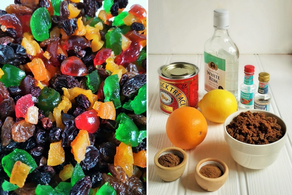 Assorted_dried_fruit_alongside_typical_fruit_cake_flavourings
