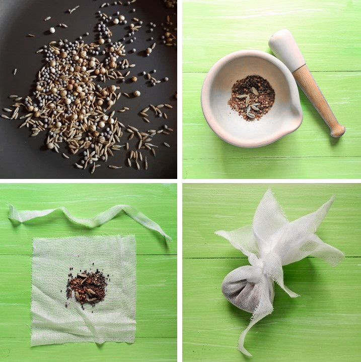 Toasting_spices_then_grinding_in_a_pestle_and_mortar_and_tying_in_a_spice_bag