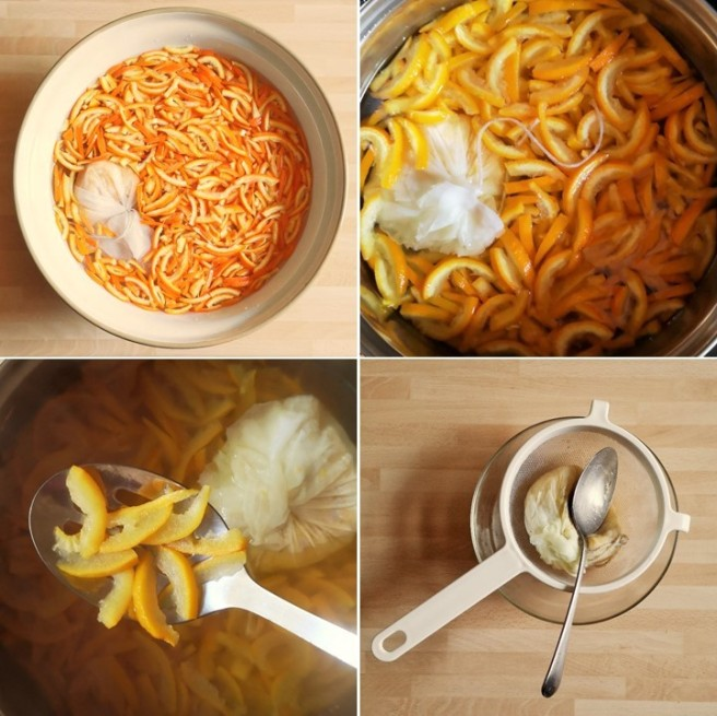 4_images_showing_the_soaking_and_cooking_of_orange_peel_for_marmalade_making