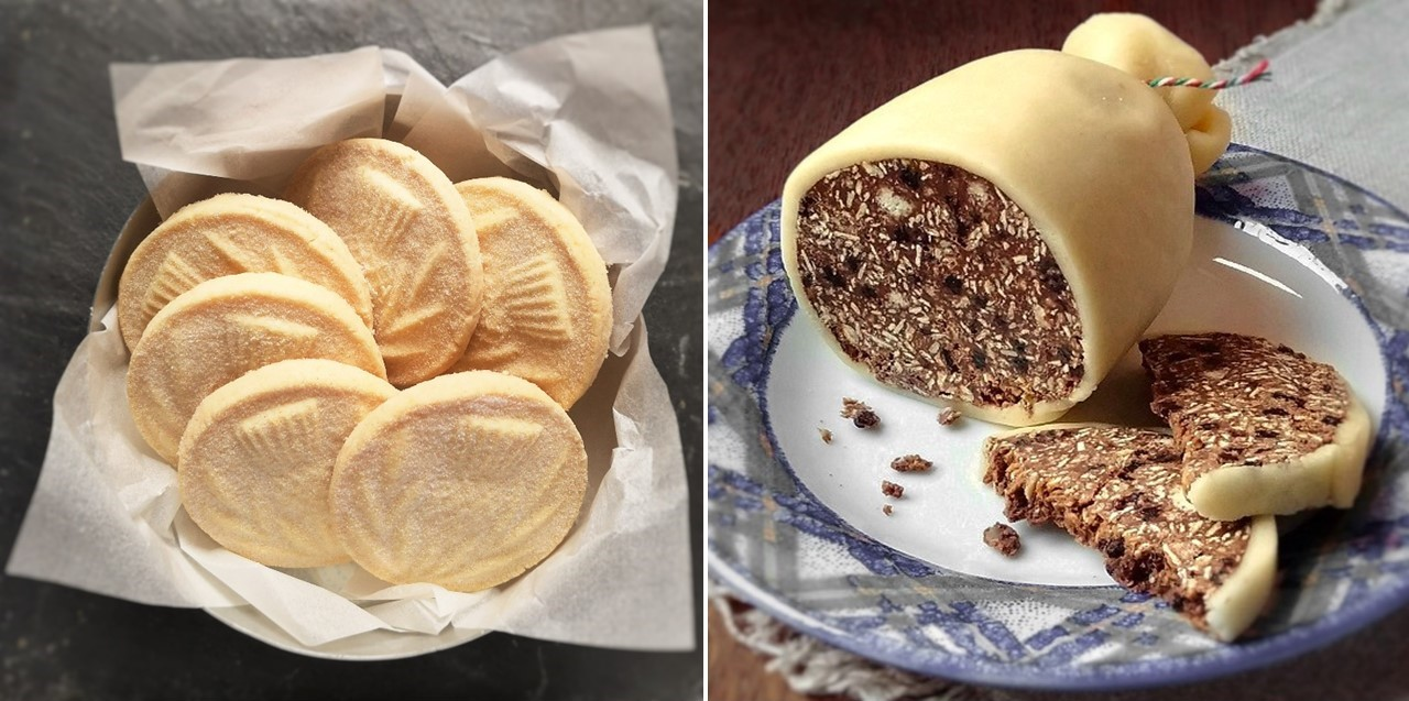 Scottish_shortbread_rounds_alongside_chocolate_haggis_covered_in_marzipan