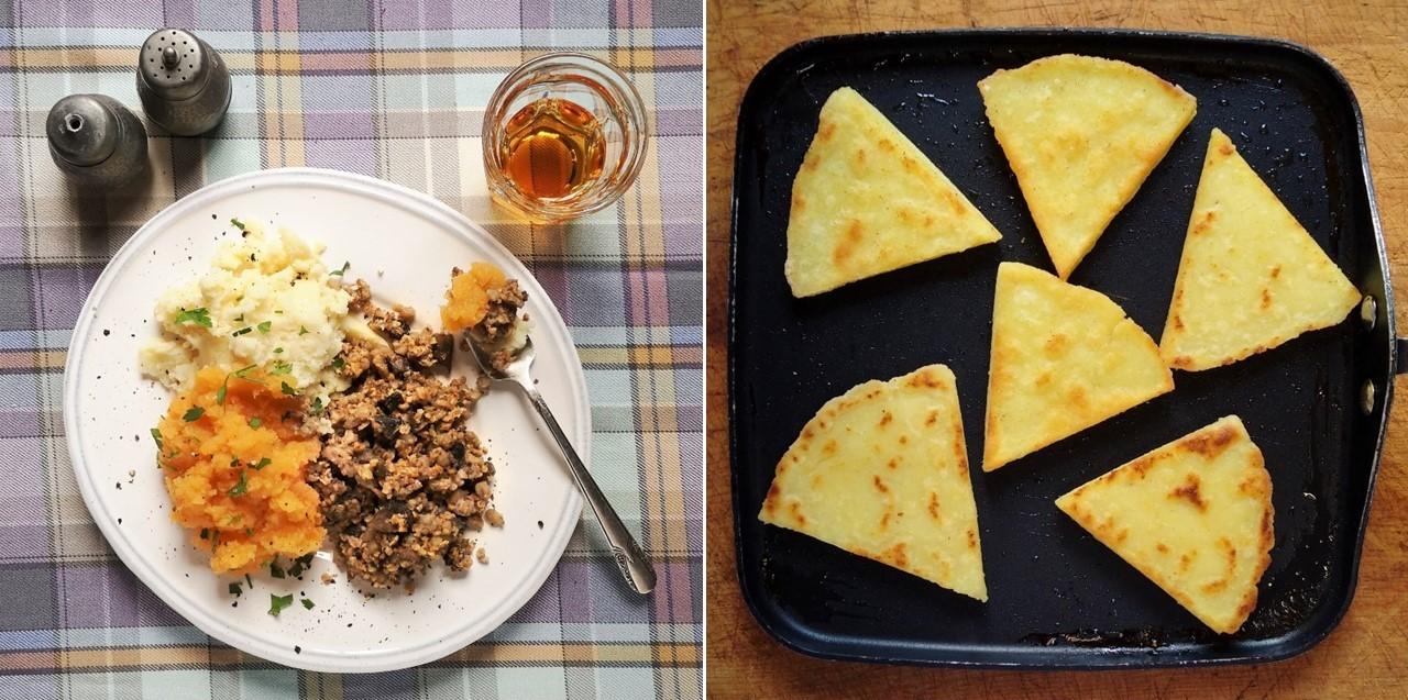Vegan_haggis_and_tattie_scones_traditional_Scottish_Burns_night_food