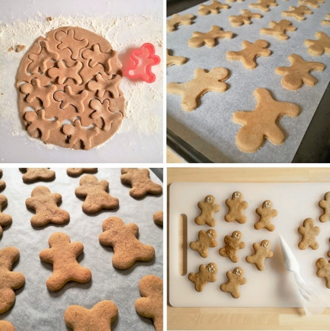 4_steps_showing_shaping_baking_and_decorating_homemade_gingerbread_men