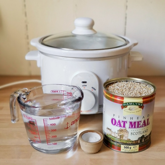 Slow-cooker_oatmeal_porridge_ingredients_water_salt_and_pinhead_oatmeal