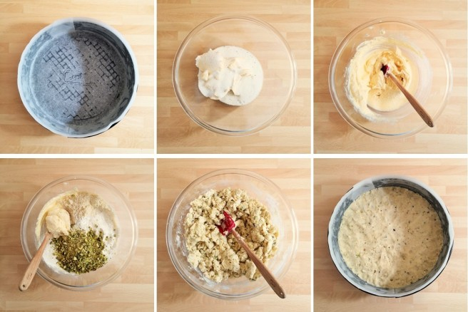 Steps_1_to_6_in_the_making_of_raspberry_and_pistachio_crumble_cake
