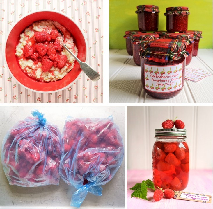 Multiple_images_of_fresh_raspberry_compote_raspberry_jam_frozen_raspberries_and_raspberry_vinegar