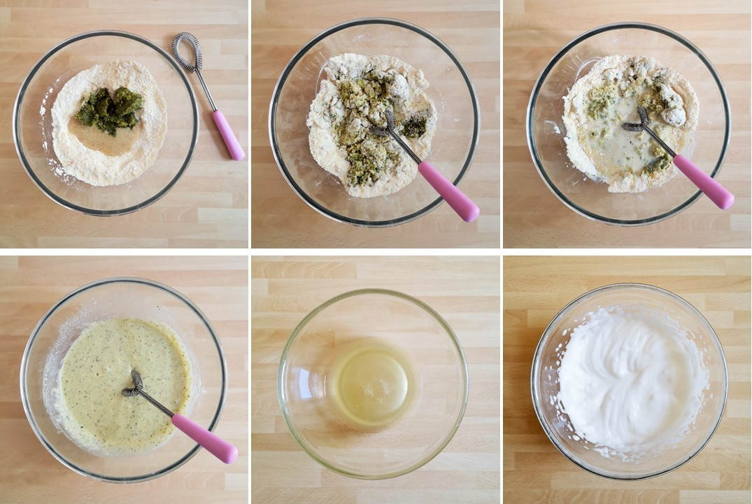 Adding_homemade_pesto_and_whisked_aqua_fava_to_fritter_batter