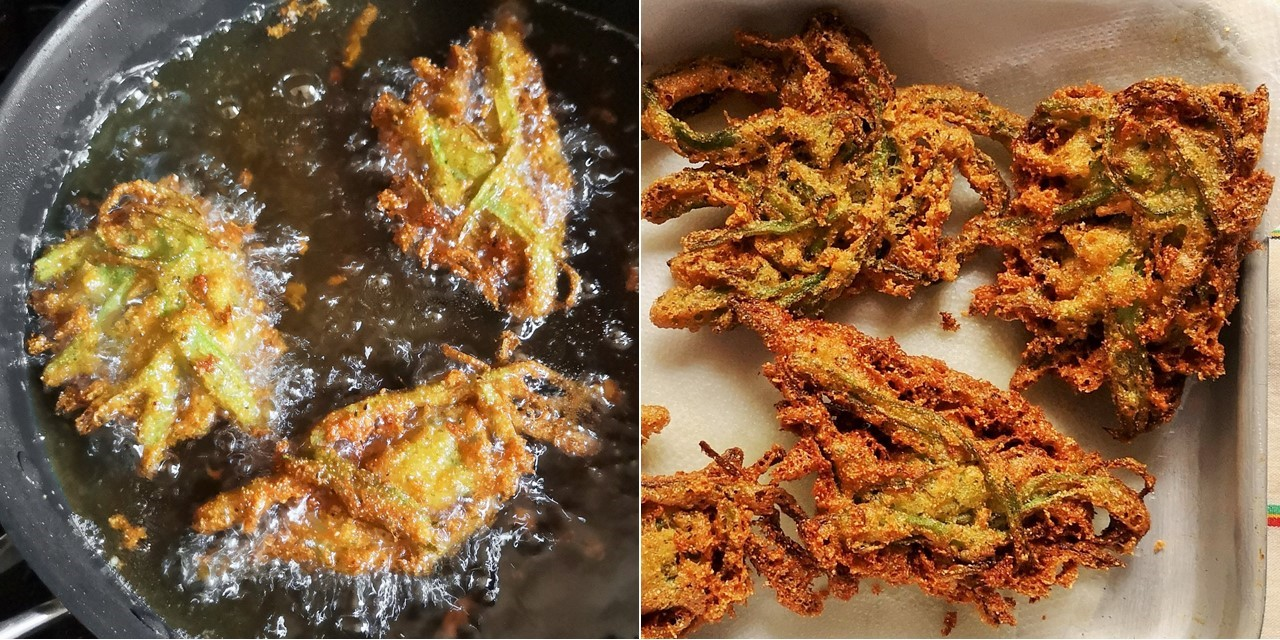 Runner_bean_fritters_bubbling_in_oil_and_draining_after_cooking