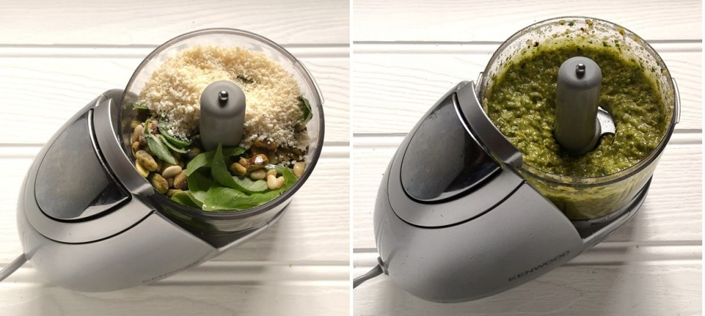 Small_food_processor_with_basil_pesto_ingredients_before_and_after_blending