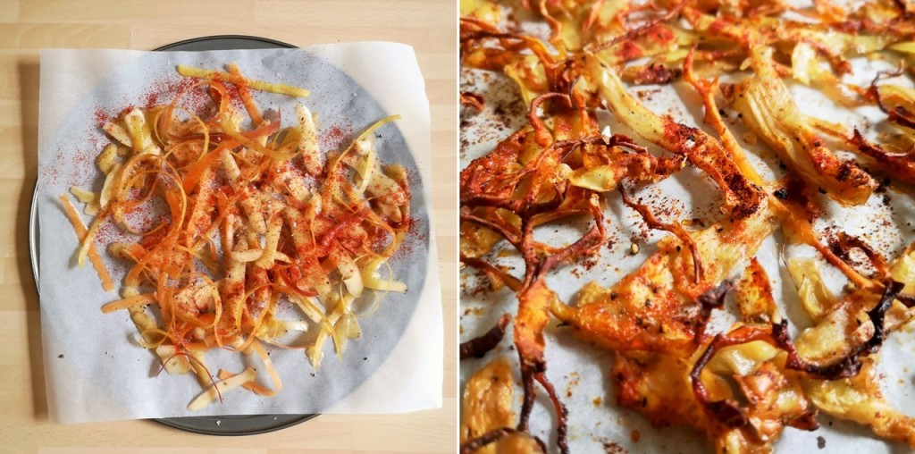 Before_and_after_baking_potato_and_carrot_peel_crisps