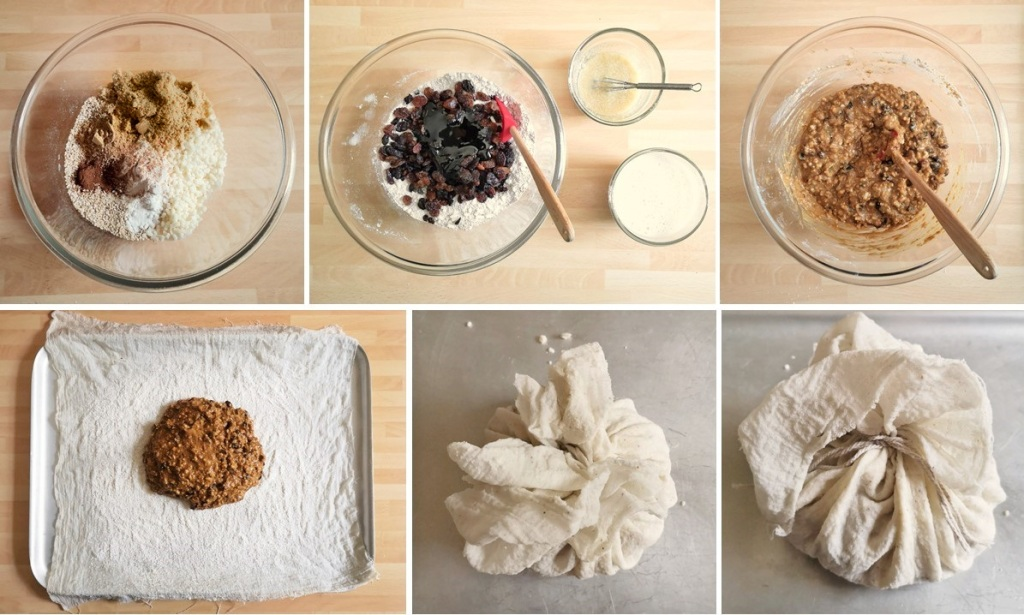 Making_the_dumpling_mix_and_tying_up_in_cloth