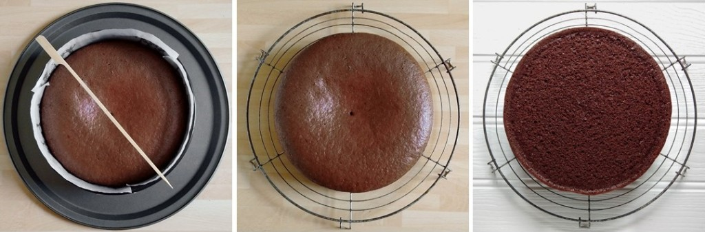 3_steps_showing_the_baked_chocolate_cake