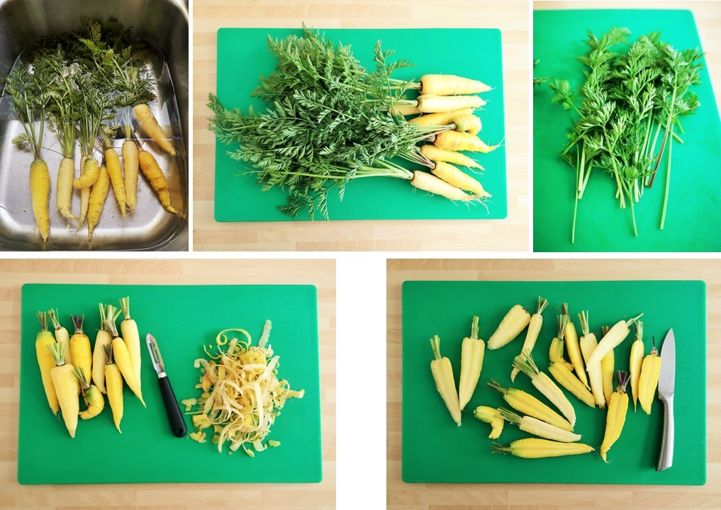 Preparing_carrots_tops_and_peelings_for_cooking