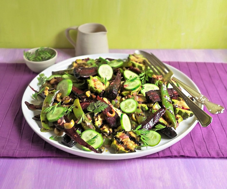 Seasonal_vegetable_salad_served_with_chopped_carrot_tops_and_white_balsamic_dressing